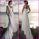 A-line Flowers One Shoulder Chiffon Bridal Gown Pleated Empire Waist Beach Wedding Dress A58