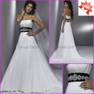 A-line Strapless White Chiffon Bridal Gown Jeweled Black Sash Empire Waist Wedding Dress MG319