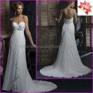 A-line Strapless Sweetheart White Chiffon Bridal Gown Prom Dress Jeweled Empire Waist Wedding Dress
