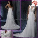 A-line Halter Embroidery White Chiffon Bridal Gown Beaded Prom Dress Empire Waist Wedding Dress