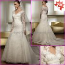A-line White Organza Lace Bridal Gown  V-neck Long Sleeves Wedding Dress