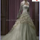 A-line Ivory Taffeta Lace Bridal Gown Strapless Wedding Dress Free Long SleevesJacket