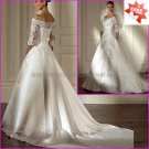 A-line White SATIN Bridal Gown  Strapless 3/4 Sleeves Lace top Wedding Dress