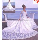 A-line White Lace Applqiue Satin Bridal Gown V-neck Long Sleeves Wedding Dress Cathedral Train