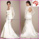 Hot Sale White Satin Mermaid  Bridal Gown Free Long Sleeves Lace Jacket  Wedding Dress