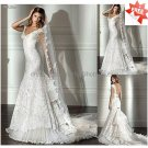 A-line White Lace Bridal Gown V-neck Cap Sleeves Lace top Wedding Dress