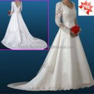 A-line White Lace Applqiue Satin Bridal Gown V-neck Long Sleeves Wedding Dress ChapelTrain