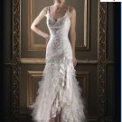 A-line White Lace Tulle Bridal Gown Thin Straps Front Slit Wedding Dress