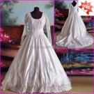 A-line White Lace Beaded Satin Bridal Gown Round-neck Long Sleeves Wedding Dress CHAPEL Train