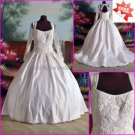 A-line White Lace Beaded Satin Bridal Gown Square-neck Long Sleeves Wedding Dress CHAPEL Train