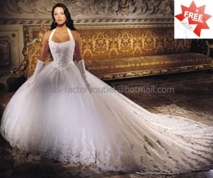 A-line White Lace Applqiue Tulle Bridal Gown Halter Strap Corset Top Wedding Dress Cathedral Train