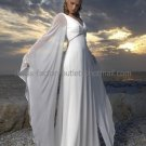 A-line White Chiffon Long Sleeves Bridal Gown V-neck Empire Waist Wedding Dress