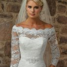 Alencon Lace A-line Bridal Gown Custom Off Shoulder Ivory White Lace Wedding Dress 3/4 Long Sleeves