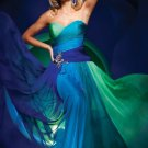 Straples Green Aqua Blue 4 Colors Chiffon Bridal Evening Dress Long Prom Dress Formail Gown