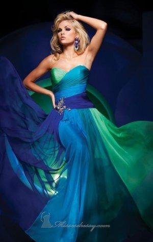 Straples Green Aqua Blue 4 Colors Chiffon Bridal Evening Dress Long Prom Dress Formail Gown