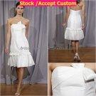 A-line White Taffeta Short Evening Dress Bridesmaid Dress Strapless Beach Wedding Dress