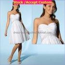 A-line White Beaded Taffeta Short Evening Dress Bridesmaid Dress Strapless Beach Wedding Dress