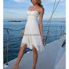 A-line White Chiffon Beaded Short Evening Dress Bridesmaid Dress Strapless Beach Wedding Dress