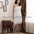 White Chiffon Simple Short Evening Dress Bridesmaid Dress Strapless Beach Wedding Dress