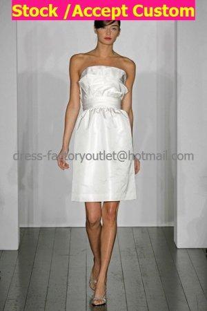 Wholesale Sheath White Pleated Taffeta Short Evening Dress Bridesmaid Dress Strapless Wedding Dress
