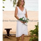 A-line Short White Chiffon Evening Dress Bridesmaid Dress Sleevelss V-neck Tea Length Wedding Dress
