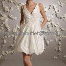 A-line Short White Taffeta Evening Dress Bridesmaid Dress Sleevelss V-neck Tea Length Wedding Dress