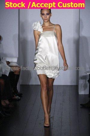 A-line Short White Satin Evening Dress Bridesmaid Dress 2 Thin Straps Knee Length Wedding Dress