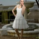 A-line Short White Organza Applique Evening Dress Bridesmaid Dress Knee Length Wedding Dress