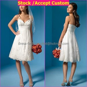 A-line White Satin Tulle Applique Bridal Gown Sweetheart Knee Length Lace Wedding Dress