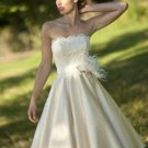 Champagne Satin Littler Bridal Gown Knee LengthStrapless Lace Top Beach Wedding Dress