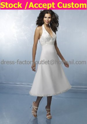 A-line White SATIN Bridal Evening Dress Halter V-neck Calf Length Wedding Dress
