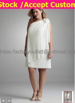 Sheath Short White Chiffon Evening Dress Plus Size Prom Dress One Shoulder Beach Wedding Dress