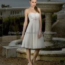 A-line Short White Pleated Chiffon Sash Evening Dress Bridesmaid Dress Strapless Beach Wedding Dress