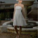 A-line Short White Pleated Chiffon Sash Evening Dress Bridesmaid Dress Strapless Beach Wedding Dress