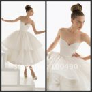 Layered Dress White Satin Short Evening Dress Bridesmaid Dress Strapless Corset Wedding Dress
