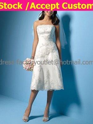 A-line White Lace Applique Short Evening Dress Bridal Dress Strapless Beach Wedding Dress