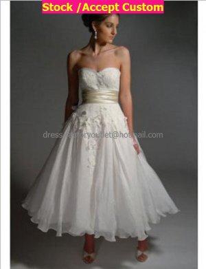 White Chiffon Champagne Sash Short Evening Dress Bridal Dress Strapless Beach Wedding Dress