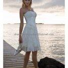 A-line White Lace Tulle Short Evening Dress Bridal Dress Strapless Beach Wedding Dress