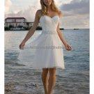 A-line White Tulle Short Evening Dress Bridal Dress Strapless Jeweled SASH Beach Wedding Dress