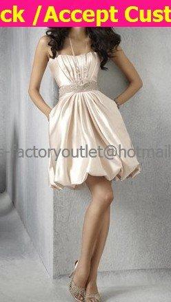 A-line Champagne Satin Short Evening Dress & Pocket Bridal Dress Strapless Beach Wedding Dress