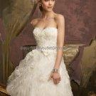 A-line White Tassel Organza Lace Bridal Dress Strapless Knee Length Beach Wedding Dress