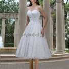 A-line White Organza Lace Short Bridal Dress Beaded Strapless Calf Length Beach Wedding Dress