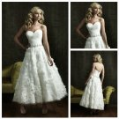 A-line White Tiered Tulle Lace Bridal Dress Handmade Flowers Ankle Length Beach Wedding Dress