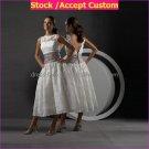 A-line White Lace Purple Sash Short Lace Bridal Dress Strapless Calf Length Beach Wedding Dress