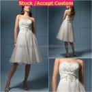 A-line White Organza Embroidery Short Bridal Dress Strapless Knee Length Beach Wedding Dres S43