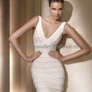 V-neck Ivory Satin Short Bridal Dress Knee Length Beach Wedding Dress S94