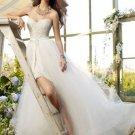White Ivory Organza Lace Bridal Dress Strapless Short Front Long Back Hi-low Beach Wedding Dress