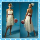 White Ivory Lace Red Sash Bridal Dress Strapless Short Front Long Back Hi-low Beach Wedding Dress