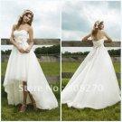 White Ivory Pink Sash Bridal Dress Strapless Short Front Long Back Hi-low Beach Wedding Dress