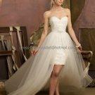 Beige Ivory Tulle Lace Bridal Dress Strapless Short Front Long Back Hi-low Beach Wedding Dress